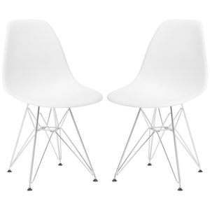 Modern farmhouse dining room chairs Poly and Bark Padget Side Chair, White, Set of 2