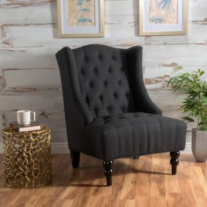 comfortable farmhouse armchair - Tall Wingback Fabric Club Chair | Perfect For Living Room | Dark Charcoal via Amazon