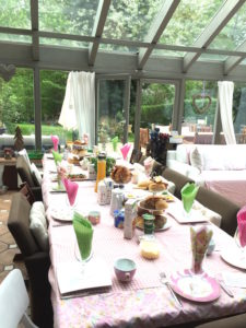 birthday brunch table set up with our old dining room chairs